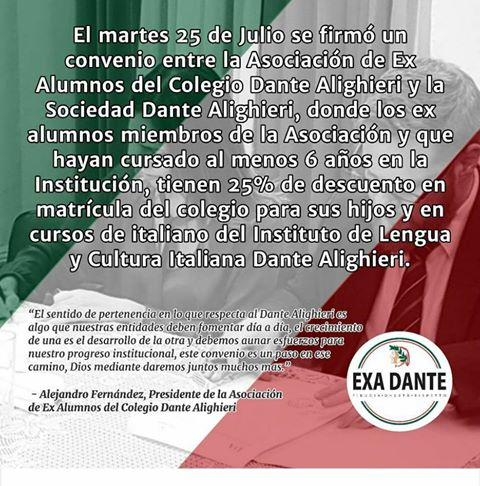 Convenio con la Asociación de Ex Alumnos del Colegio Dante Alighieri